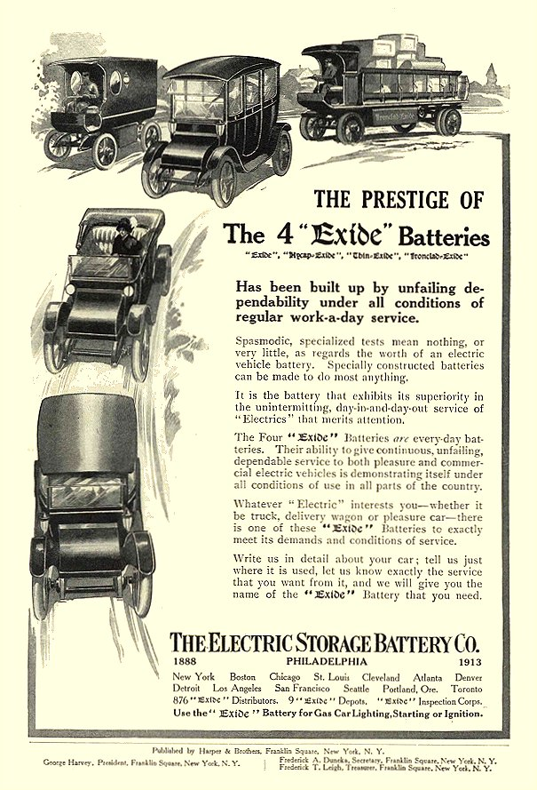 1913 6 Electric Car Battery The Prestige Of The 4 Exide Batteries