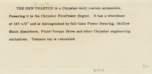 1952 CHRYSLER Parade Phaeton Written description glued to back of H-2201 8.5″x3.5″
