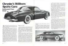 1954 DE SOTO Adventurer Chrysler's Stillborn Sports Cars: Excitement From Exner CONSUMER GUIDE Prototype Cars Cars That Never Were Classic Car IND 37629 Feb 1981 8.25″x11″ x2 pages 28 & 29