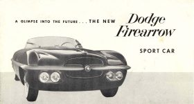 1954 DODGE A GLIMPSE INTO THE FUTURE…THE NEW DODGE Firearrow SPORT CAR DMA-8665-11-53 Chrysler Corporation Detroit 31, Michigan 7.25″x4″ Front
