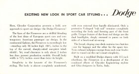 1954 DODGE EXCITING NEW LOOK IN SPORTS CAR STYLING…Dodge Firearrow NEW SPORT CAR DMA-8665-11-53 Chrysler Corporation Detroit 31, Michigan 7.25″x4″ Inside Left
