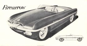 1954 DODGE EXCITING NEW LOOK IN SPORTS CAR STYLING…Dodge Firearrow NEW SPORT CAR DMA-8665-11-53 Chrysler Corporation Detroit 31, Michigan 7.25″x4″ Inside Right