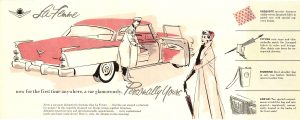1955 DODGE La Femme now for the first time anywhere a car glamorously, Personally Yours DMA-2366 1-55 DODGE DIVISION CHRYSLER CORPORATION Detroit, Michigan 14″x5.5″ Inside
