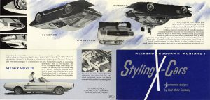 1964 FORD Styling X-Cars ALLEGRO COUGAR II MUSTANG II experimental designs STYLING OFFICE FORD MOTOR COMPANY DEARBORN, MICH Folded: 9.25″x4″ Unfolded: 16.75″x8″ Outside