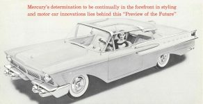 1956 MERCURY MERCURY presents the XM-TURNPIKE CRUISER FEATURES an experimental car that anticipates future motoring needs FORM NO. M56-109 8.75″x4.5″ Inside Left