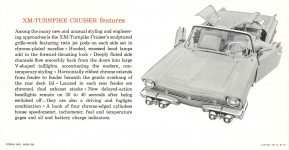 1956 MERCURY MERCURY presents the XM-TURNPIKE CRUISER FEATURES an experimental car that anticipates future motoring needs FORM NO. M56-109 8.75″x4.5″ Back