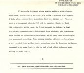 1938 BUICK Y-Job Press Release for Chicago Auto Show February 24 – March 4 1939? 8.5″x 7.25″