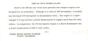 1950 BUICK XP-300 Written Description for: GM Photograph 98286-27 8.5″x 4″
