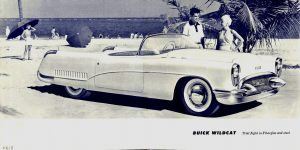 1953 BUICK Wildcat Trial flight in Fiberglas and steel Front and Back Covers Folded: 7.75″x7.75″ Open: 15.5″x7.75″