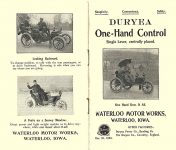 1903 DURYEA Motor Vehicle One-Hand Control Simplicity  Convenience  Safety WATERLOO MOTOR WORKS Waterloo, IOWA 3.5″x6″ folded Front & Back pages