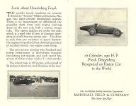 1920 Freak DUESENBERG 16-Cylinder, 290 H. P., 156 MPH Recognized as Fastest Car in the World MARSHALL FIELD & COMPANY The Store for Men 3.5″x5.5″ folded Front & Back pages