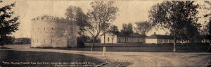 "#170 Round Tower and Old Post, Erected 1820 Fort Snelling, Minnesota F. L. Wright Photo copyright 1902 St. Paul, MINN 11""x3.5"" Real Photo Post Card"