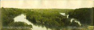 "#179 A View From Fort Snelling Bridge Looking Up the Mississippi River F. L. Wright Photo copyright 1902 11""x3.5"" Hand-colored Real Photo Post Card"