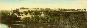 "#180 Old Post At Fort Snelling, From Over the River F. L. Wright Photo 11""x3.5"" Hand-colored Real Photo Post Card"