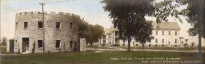 "#299 The Old Tower and Calvary Quarters Fort Snelling, Minnesota F. L. Wright Photo 11""x3.5"" Hand-colored Real Photo Post Card"