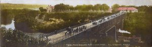 "#308 Fort Snelling and Lower Post F. L. Wright Photo 11""x3.5"" Hand-colored Real Photo Post Card"