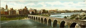 "#817 Stone Arch Bridge, Milling District Minneapolis, MINN F. L. Wright Photo copyright 1907 11""x3.5"" Made in Germany Post Card A. C. Bosselman & Co New York"