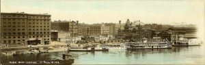 "#800 Boat Landing St. Paul, MINN F. L. Wright Photo ca. 1907 11""x3.5"" Hand-colored Real Photo Post Card"