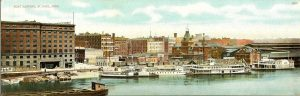 "#800 Boat Landing St. Paul, MINN F. L. Wright Photo copyright 1907 11""x3.5"" Made in Germany Post Card A. C. Bosselman & Co New York"