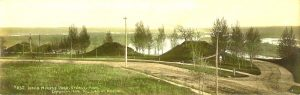"#232 Indian Mounds Park St. Paul, MINN F. L. Wright Photo copyright 1904 11""x3.5"" Hand-colored Real Photo Post Card"