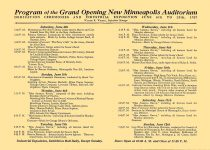 New Minneapolis Auditorium Program Dedication Ceremonies and Industrial Exposition June 4 to 12, 1927 6″x9″ pages 3 & 4