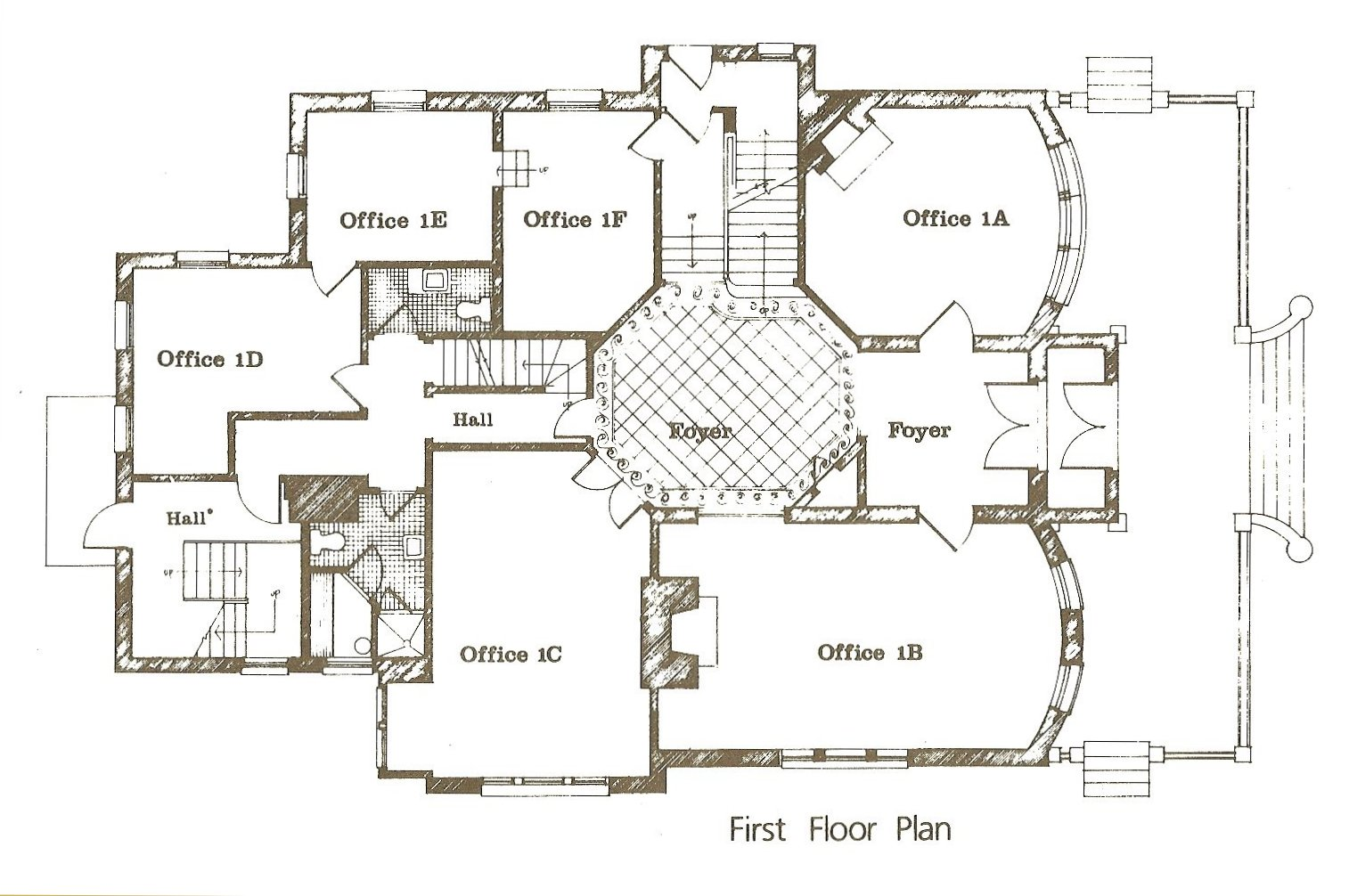 "Hinkle-Murphy House, 1886 619 South 10th Street Minneapolis, Minnesota Architect: William Channing Whitney Leasing brochure for ""The Kirkwood"" ca. 1984 1st Floor Plan"