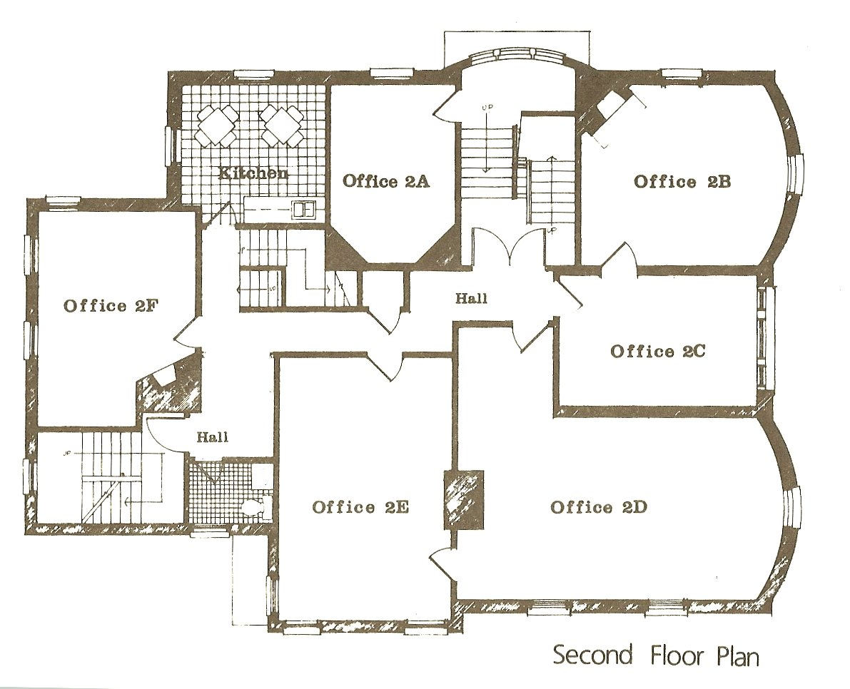 "Hinkle-Murphy House, 1886 619 South 10th Street Minneapolis, Minnesota Architect: William Channing Whitney Leasing brochure for ""The Kirkwood"" ca. 1984 2nd Floor Plan"