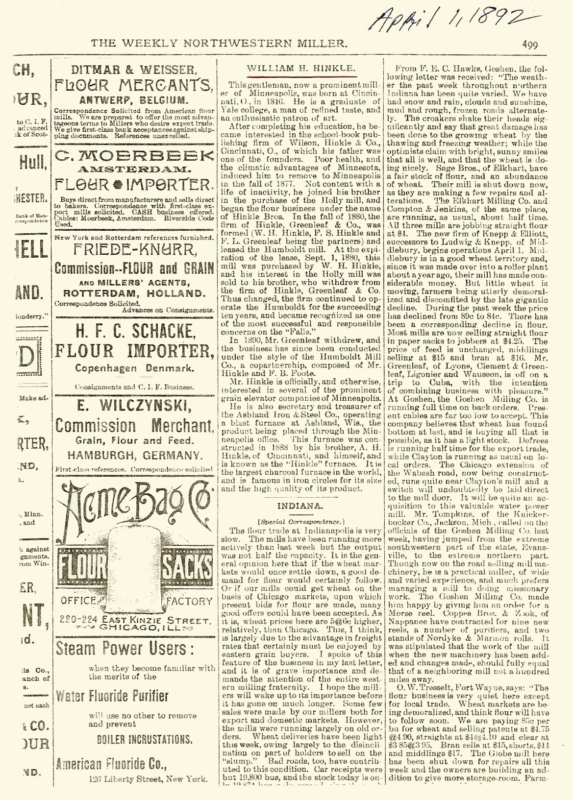 Hinkle-Murphy House, 1886 619 South 10th Street Minneapolis, Minnesota Architect: William Channing Whitney The Weekly Northwestern Miller April 1, 1893 page 499