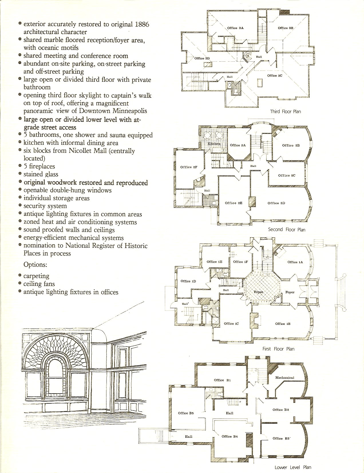 "Hinkle-Murphy House, 1886 619 South 10th Street Minneapolis, Minnesota Architect: William Channing Whitney Leasing brochure for ""The Kirkwood"" ca. 1984 Page 3"