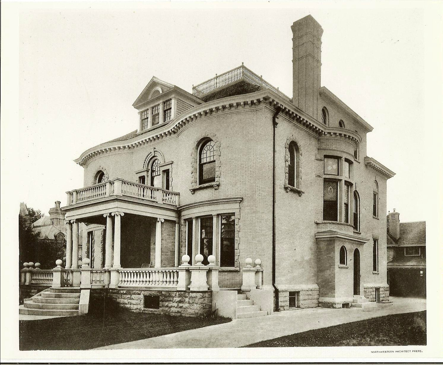 Hinkle-Murphy House, 1886 619 South 10th Street Minneapolis, Minnesota Architect: William Channing Whitney Exterior: Looking from South 10th Street Black & White photograph Northwestern Architect Supplement Vol. 6. No. 7 1886 Minneapolis Library History Collection