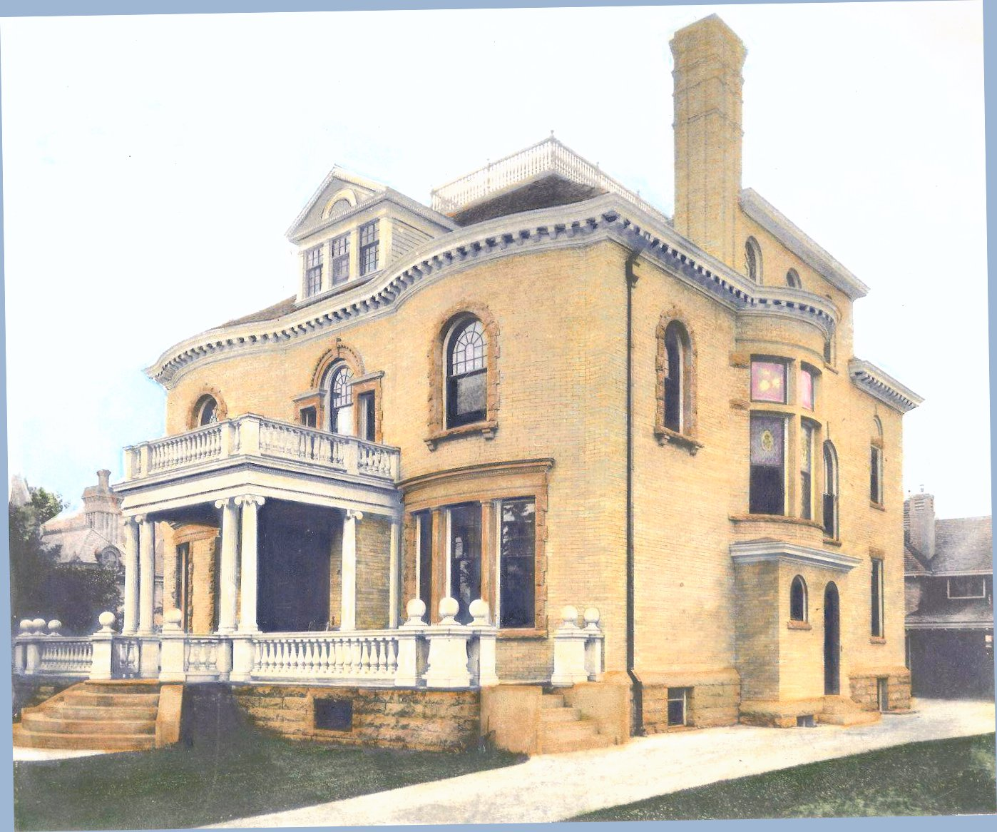 Hinkle-Murphy House, 1886 619 South 10th Street Minneapolis, Minnesota Architect: William Channing Whitney Exterior: Looking from South 10th Street Hand-colored photograph by Donna Webb ca. 1984 Northwestern Architect Supplement Vol. 6. No. 7 1886 Minneapolis Library History Collection
