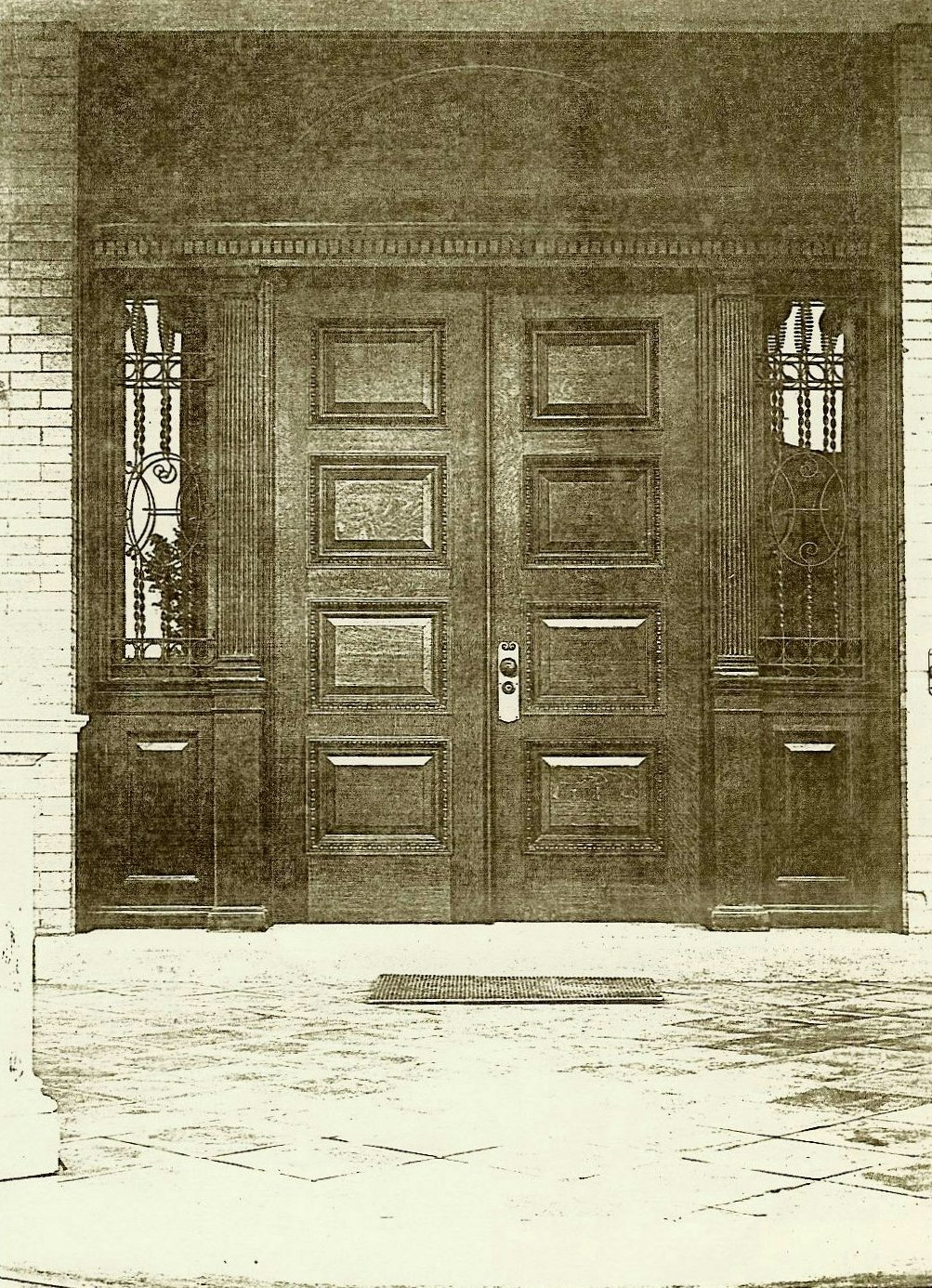 Hinkle-Murphy House, 1886 619 South 10th Street Minneapolis, Minnesota Architect: William Channing Whitney Exterior: Looking at the front doors. Northwestern Architect Supplement Vol. 6. No. 7 1886 Minneapolis Library History Collection