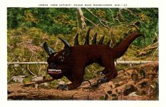 Hodag Linen Post Card HODAG (NOW EXTINCT) FOUND NEAR RINNELANDER, WIS.—27 Postmarked July 13, 1939 Front 5.5″x3.5″