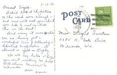 Hodag Linen Post Card HODAG (NOW EXTINCT) FOUND NEAR RINNELANDER, WIS.—27 Postmarked July 13, 1939 Back 5.5″x3.5″