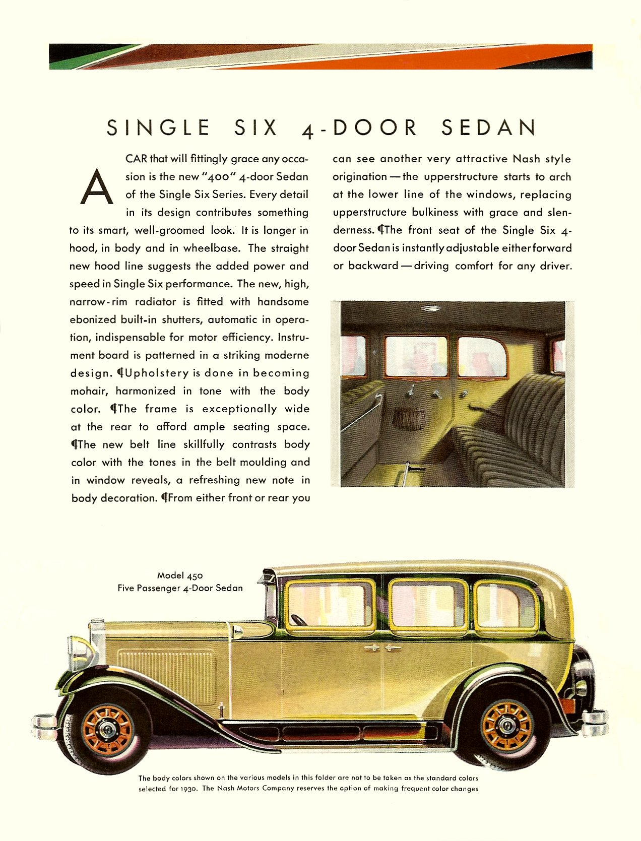 """NASH """"400"""" series for 1930 SINGLE IGNITION SEDANS Coupe • Cabriolet Page 1, 8.5″x11″"""