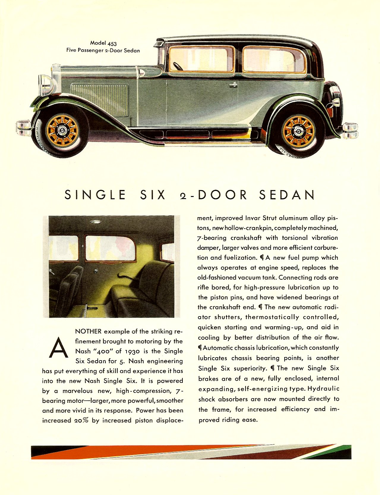 """NASH """"400"""" series for 1930 SINGLE IGNITION SEDANS Coupe • Cabriolet Page 2, 8.5″x11″"""