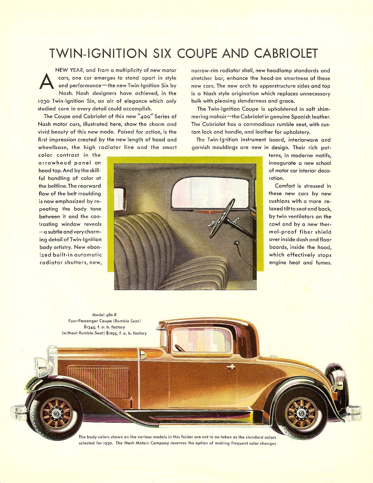 "NASH ""400"" series for 1930 TWIN IGNITION SIX Coupe • Cabriolet Page 1, 8.5″x11″"