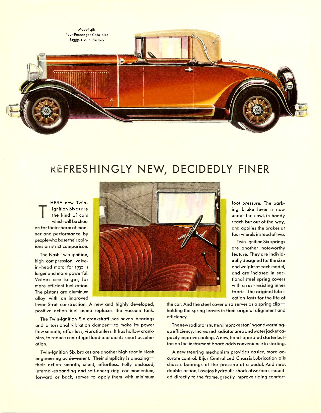 "NASH ""400"" series for 1930 TWIN IGNITION SIX Coupe • Cabriolet Page 2, 8.5″x11″"