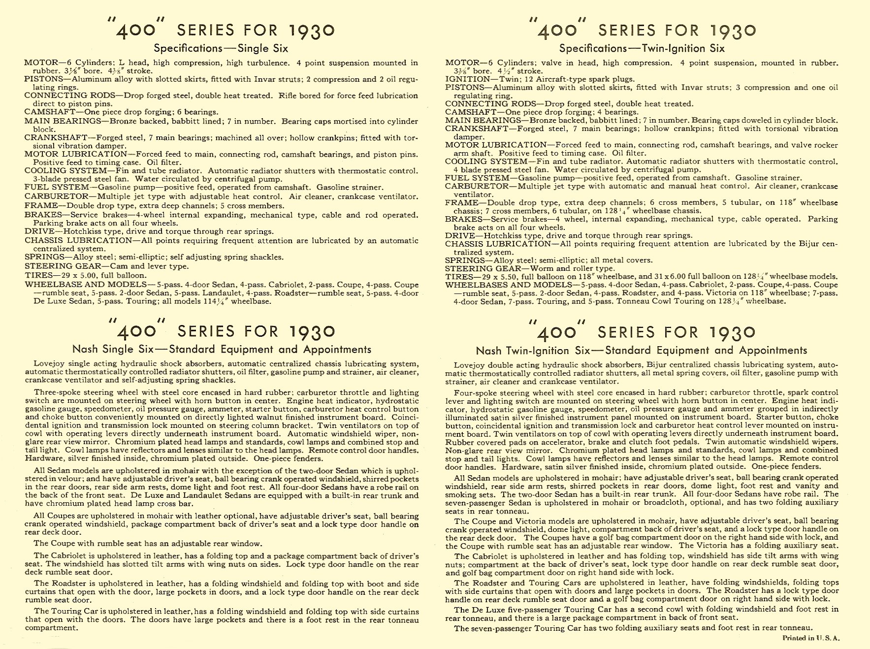 "NASH ""400"" series for 1930 Specifications Single Six, Nash Single Six Twin-ignition Six, Nash Twin-ignition Six One page, 11.75″x8.75"