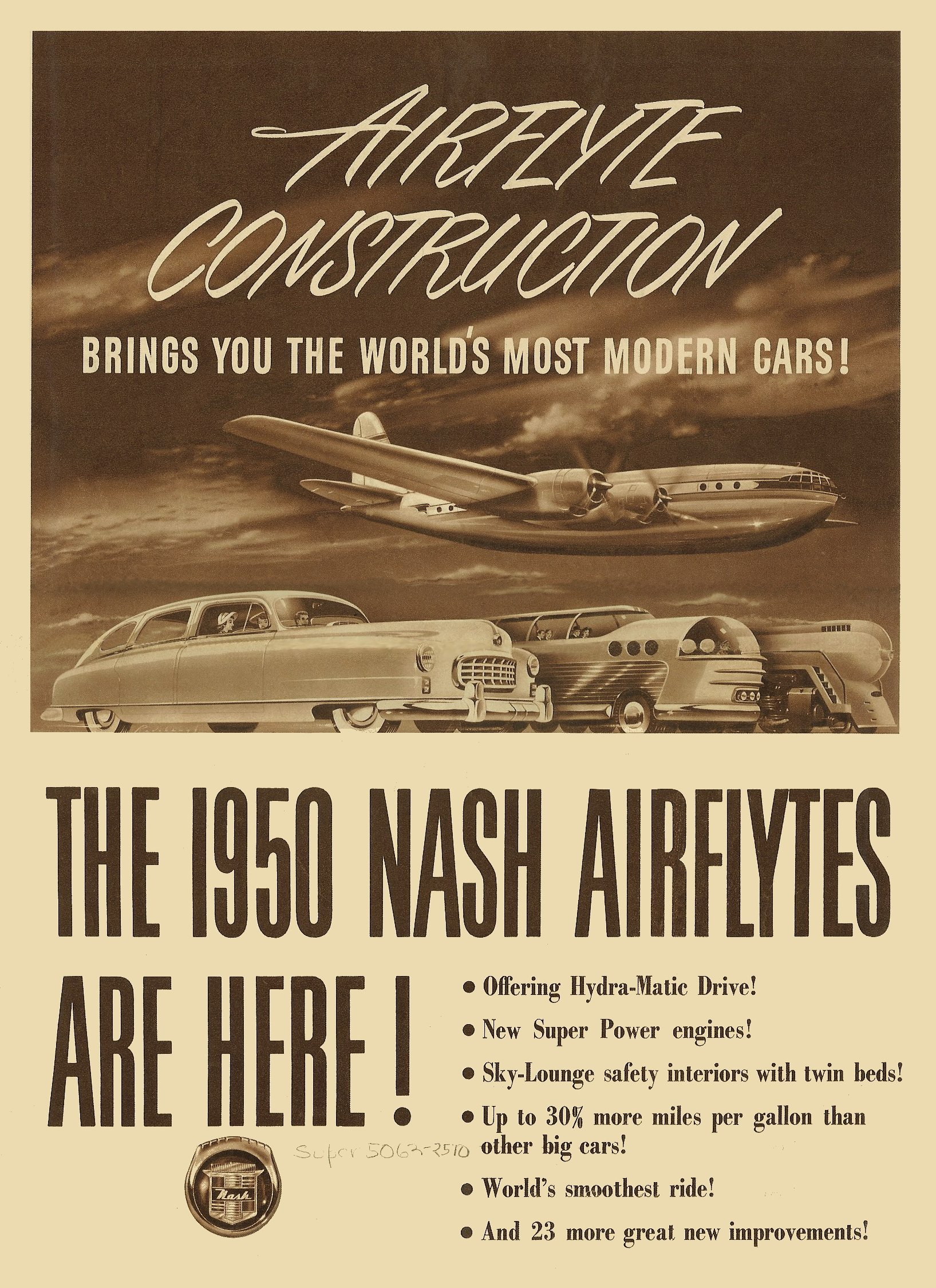 1950 NASH Airflyte Construction Sales Foldout 11″x14″ folded Form No. NSP 401B-2000M-8-49 Front page