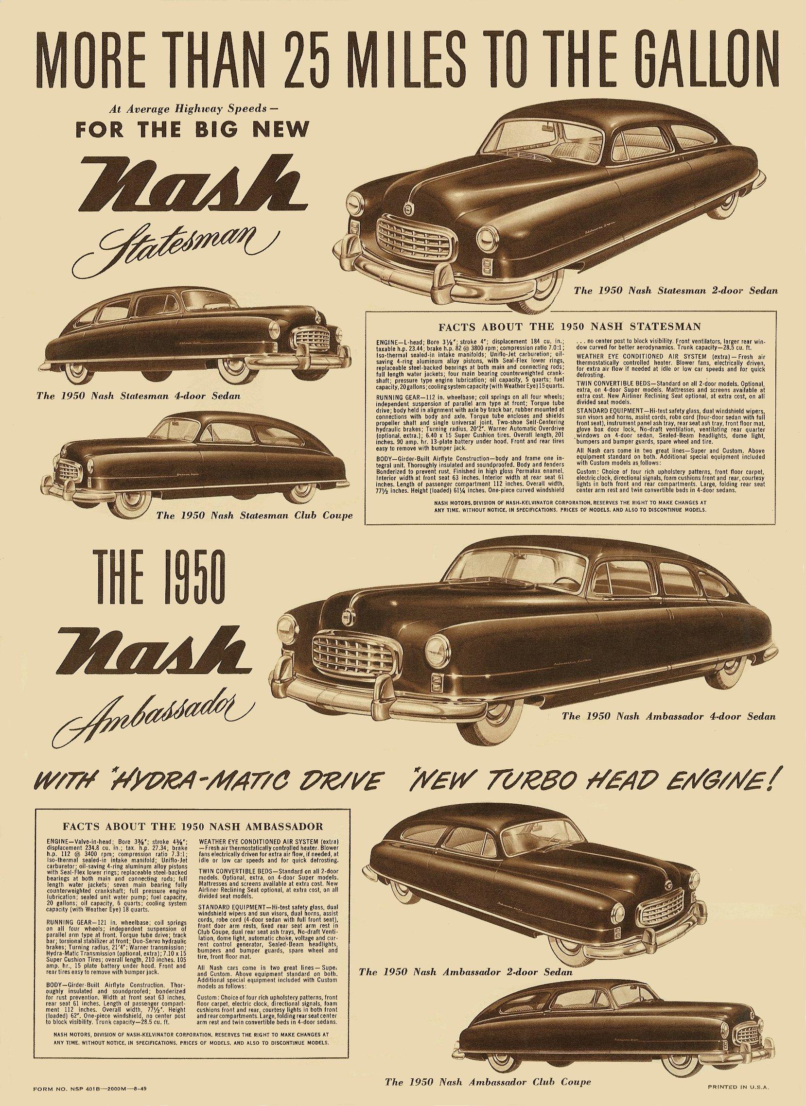 1950 NASH Airflyte Construction Sales Foldout 11″x14″ folded Form No. NSP 401B-2000M-8-49 Back page