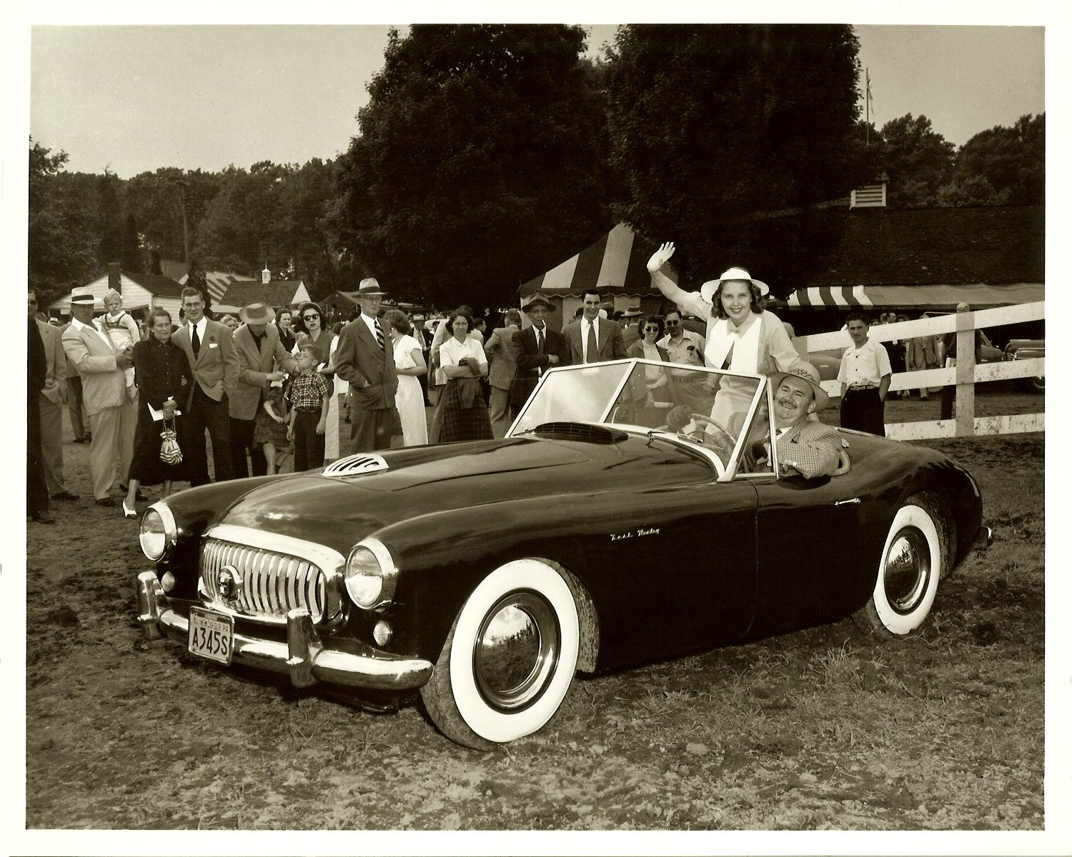 1951 NASH Healey with Paul Whiteman behind wheel John A. Conde Bloomfield Hills, Michigan 10″x8″ Black & White photograph