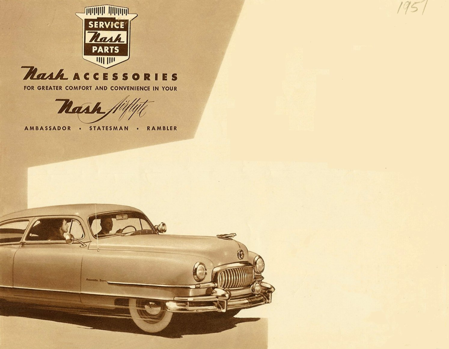 1951 NASH Accessories Nash Airflyte Ambassador – Statesman – Rambler Front Cover Folded: 10″x7.75″ Open: 20″x15.5 NAP50-526-400M-9-50