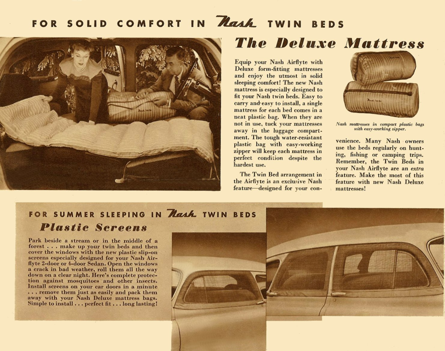 1951 NASH Accessories Nash Airflyte Ambassador – Statesman – Rambler Back Cover Folded: 10″x7.75″ Open: 20″x15.5 NAP50-526-400M-9-50