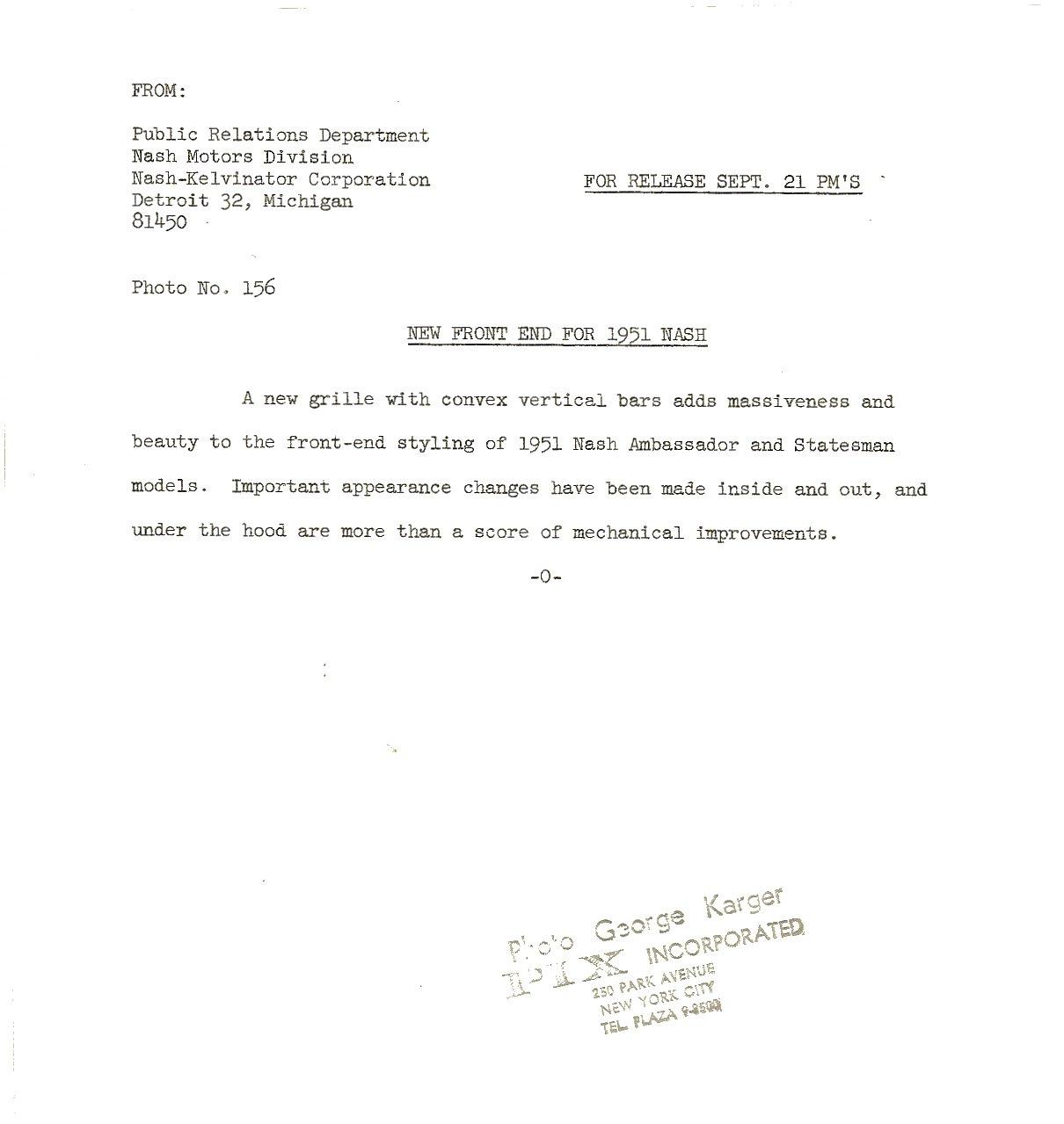 1951 NASH Press Release New Front End For 1951 NASH Ambassador and Statesman models Photo No. 156