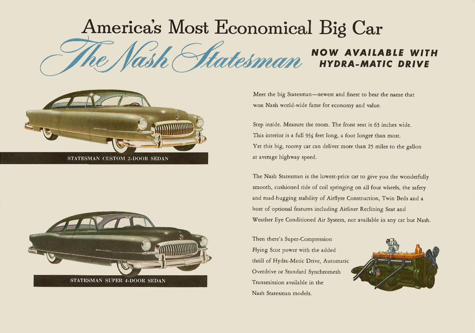 1951 NASH The New NASH Airflytes Sales Catalog NSP51-783-400M – October 1, 1951 Page 9