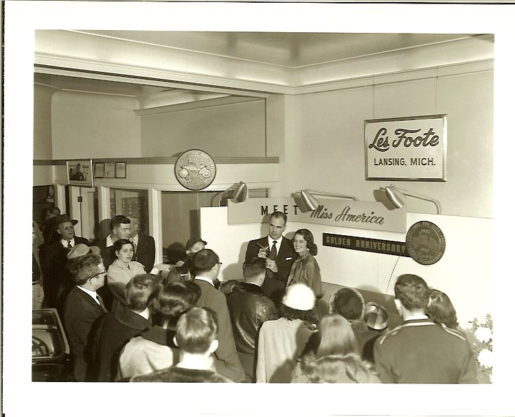 A visit from Miss America 1953 Neva Langley of Macon, Georgia 1 Les Foote NASH automobile dealership Lansing, Michigan From a 5″x4″ Black & White negative
