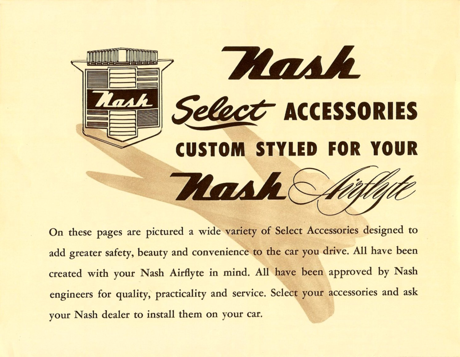 The World's Finest ACCESSORIES Nash Golden Airflyte for 1952 Top Left – Other side Folded: 10″x7.75″ Open: 20″x15.5 NAP-52-1030—400M-5-52