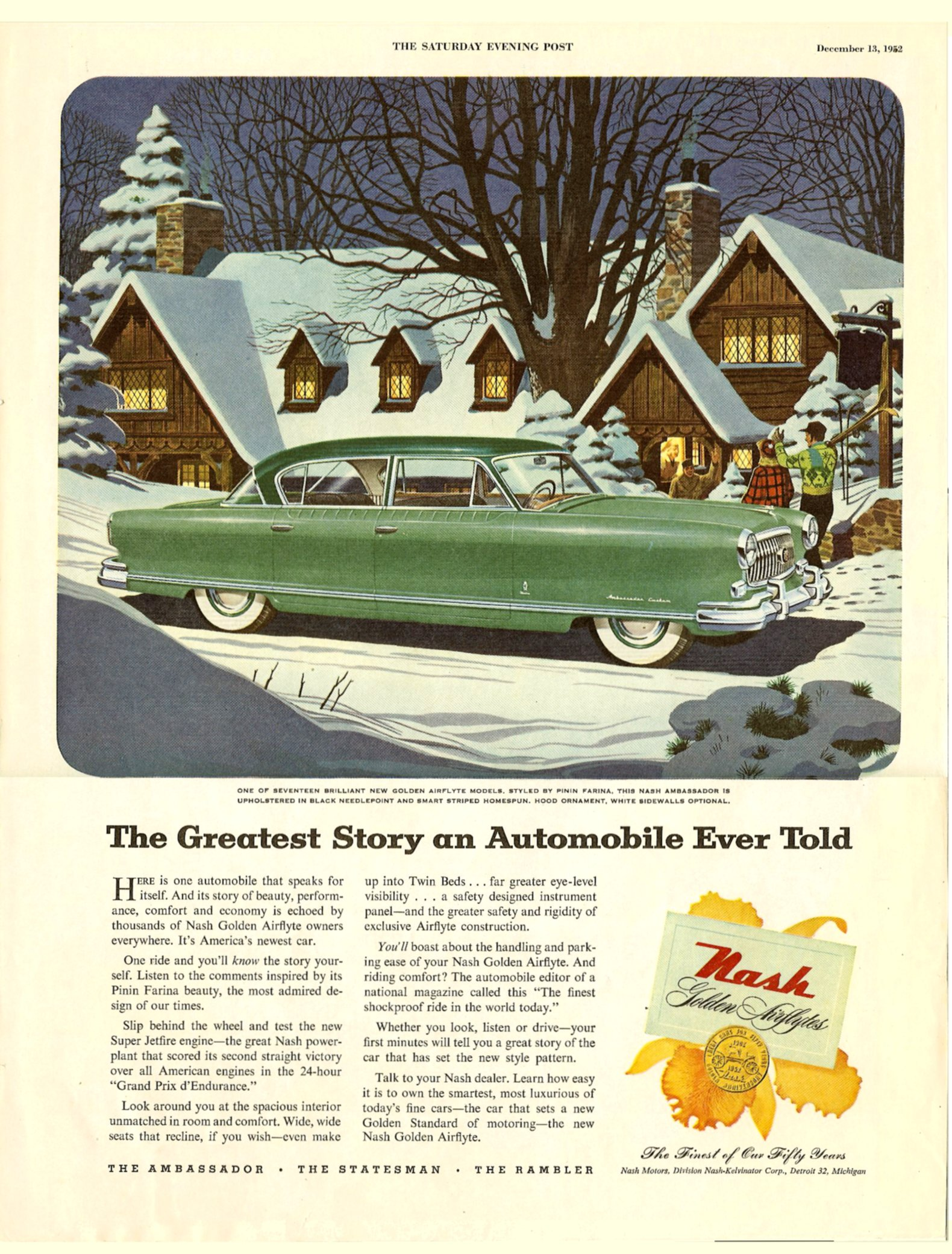 The Greatest Story an Automobile Ever Told The Saturday Evening POST December 13, 1952 Inside front cover, 10.5″x13.75″
