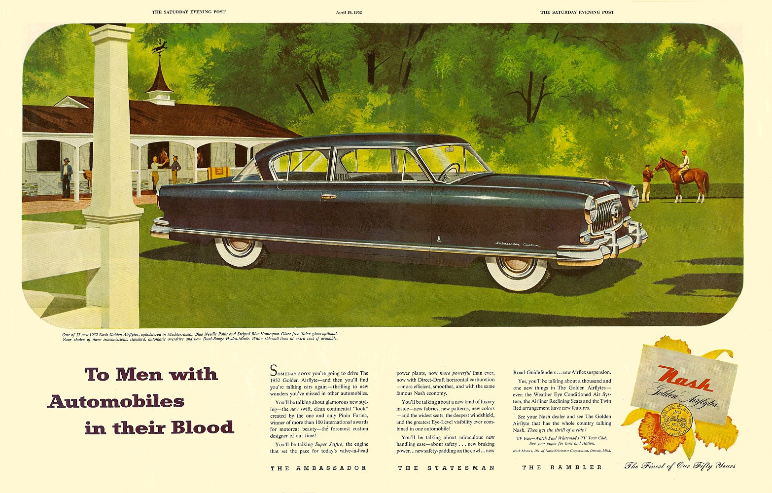 To Men with Automobiles in their Blood The Saturday Evening Post April 19, 1952 Pages 110 & 111, 10.5″x13.5″